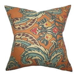 """The Pillow Collection - Kiriah Floral Pillow Cinnamon 18"""" x 18"""" - Take this classy throw pillow and use it to adorn your home. This 18"""" pillow features a luxurious floral pattern in fancy colors like orange, yellow, red and blue. Toss this accent pillow anywhere inside your living space and use it as a statement piece. This square pillow is made of 100% high-quality linen fabric. Hidden zipper closure for easy cover removal.  Knife edge finish on all four sides.  Reversible pillow with the same fabric on the back side.  Spot cleaning suggested."""