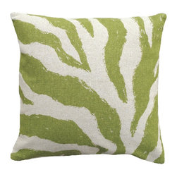 123 Creations - Zebra, Hand-printed Linen Pillow - Hand-printed on unbleached linen fabric. Feather-down insert with zipper closure. Machine wash cold with like colors, no bleach, tumble dry low.
