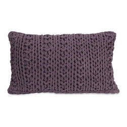 """IMAX - Mailie Purple Crochet Pillow - Inspired by your favorite chunky knit sweater, the Mailie purple crochet pillow adds a soft touch to any decor. Item Dimensions: (12""""h x 20""""w x 5.5"""")"""
