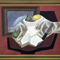 """Art MegaMart - Juan Gris Table Front Picture - 20"""" x 25"""" Juan Gris The Table in Front of the Picture framed premium canvas print reproduced to meet museum quality standards. Our Museum quality canvas prints are produced using high-precision print technology for a more accurate reproduction printed on high quality canvas with fade-resistant, archival inks. Our progressive business model allows us to offer works of art to you at the best wholesale pricing, significantly less than art gallery prices, affordable to all. This artwork is hand stretched onto wooden stretcher bars, then mounted into our 3 3/4"""" wide gold finish frame with black panel by one of our expert framers. Our framed canvas print comes with hardware, ready to hang on your wall.  We present a comprehensive collection of exceptional canvas art reproductions by Juan Gris."""
