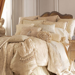 Austin Horn Collection - Austin Horn Collection Embroidered Standard Sham - Bed linens in winter white with elaborate trims create a wonderland of pale beauty. We begin with lattice-textured duvet cover and sham and we add the opulence of pleated silk, velvet, embroidery, and seed pearl accessories from the Austin Horn Collec...