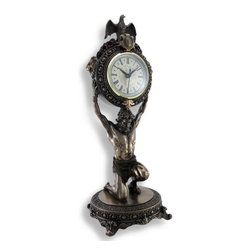 Zeckos - Ornate Bronzed Atlas Table Clock 15 In. - This bronzed clock depicts the Greek Titan, Atlas, holding up a clock rather than the celestial sphere. The clock is wonderfully detailed both around the face and on the back, featuring lion heads on either side and an eagle perched upon the top. Subtle use of color and hand painted accents highlight the decorative work, making it a piece of art. This piece measures 15 inches tall with a 5 1/4 inch diameter base and the clock face measures 3 1/4 inches in diameter. Pull the clock face straight out to install 1 AA battery (not included) and to set the time. This clock adds a wonderful accent to your home or office, and it makes a lovely gift for Greek mythology buffs.