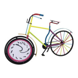 Colorful Metal Bicycle Table Clock - This bicycle clock adds a fun accent to any table in your home or office. Made of metal, it measures 13 3/4 inches tall, 21 1/2 inches long, and 5 1/2 inches wide. The bike is hand painted in cheerful enamels, giving it a whimsical quality. The front wheel contains the plastic 6 3/4 inch diameter clock. The clock features quartz movement, runs on 1 AA battery (not included), and has slightly swirled numbers and hands as though it were in motion. This clock looks great in children`s rooms, or in any room in your home, and makes a great gift for cycling enthusiasts.