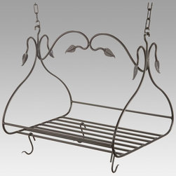 Metal Creations - Gourmet Pot Rack with 8 Canterbury Hooks - Large - 901-463 - Shop for Pot Racks from Hayneedle.com! Short on cabinet space? It's a problem many of us experience especially in older homes and apartments. Free up some space by using our Gourmet Pot Rack with Eight Canterbury Hooks to hang your pots and pans. It's an attractive addition to any kitchen and the large center grid can double as a shelf giving you even more storage options. Crafted from hand-forged iron it has a scrolling leaf pattern and a natural black finish that will blend in beautifully with any kitchen decor. The eight Canterbury hooks are loose allowing you to place them in any configuration and you can purchase additional 1-foot sections of chain to accommodate high ceilings. Made in the USA. Dimensions: 36L x 19W x 18H inches. Weighs 26 pounds.About Stone County Ironworks.Stone County Ironworks creates heirloom hand-forged iron furniture. The company's blacksmiths use artistic ability and traditional tools like the hammer anvil and forge to create unique works of art naturally. For 30 years Stone County Ironworks has worked with designers and dreamers all over the country - sometimes forging through a completed drawing provided by a client and sometimes working only with an idea to discover and create just the right design. The company's quality workmanship that reflects the skill of the blacksmith continues to set it apart from other manufacturers.