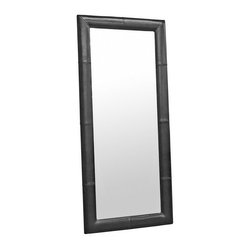 Baxton Studio - Floor Mirror with Black Leather Frame - Match or complement the look of your furniture with this oversized floor mirror. The long mirror is sized to accommodate the heights of most individuals and is bordered by a stylish by cast leather frame. The back is lined with black material. Please note this is a floor mirror and does not include hardware for mounting on a wall. This item is available in dark brown, black, and cream by cast leathers.
