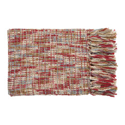 Red, Sky, Ivory, Beige, and Khaki Cable Throw - Red, Sky, Ivory, Beige, and Khaki Cable Throw