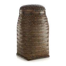 Sawali Jar - Inspired by traditional woven vessels used by tribal peoples of the Philippines, uniquely shaped jar is handcrafted of bamboo, a sustainable and durable resource. Lightweight and sturdy lidded jar shares its refined contours with a classic ginger jar.