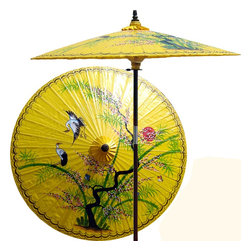 Oriental-Decor - Asian Splendor in Sunburst Yellow Patio Umbrella - Beautiful and artistic, this outdoor patio umbrella features a juniper tree, which is symbolic of wisdom and protection, with two cranes flying near. Ideal for any outdoor setting, this stunning patio umbrella is perfect for adding a vibrant and colorful touch to any deck or patio.