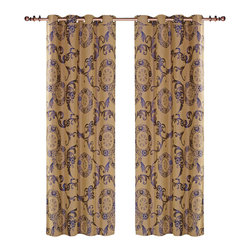 Dolce Mela - Dolce Mela DMC469 Window Treatments Damask Drapes Venus Curtain Panels - A luxurious and traditional design is presented on these drapes featuring classic dark slate-blue damask patterns on a moccasin background to create a sophisticated decor.