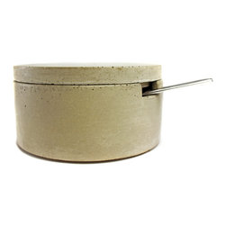 Culinarium - Classic Salt Cellar with Stainless Steel Scoop, Gray - This concrete salt/sugar cellar is sold with a stainless steel spice spoon.