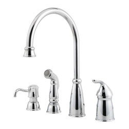 Price Pfister - Pfister GT26-4CBC Avalon One Handle Kitchen Faucet - Price Pfister GT26-4CBC is a Avalon Series Single Control 4-Hole Kitchen Faucet With Matching decorative Side Spray and Soap Dispenser.