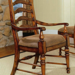 Hooker Furniture - Waverly Place Ladderback Arm Chair - Set of 2 - Set of 2. Upholstered seat. Sporty cognac fabric. Scrolled arms. Four tack in floor glides. Physical distressing finish. Upholstery can be cleaned by water based solution. Fabric made from 75% polyvinyl chloride, 15% cotton and 10% mucilage glue. Made from resin, hardwood solids and cherry veneers. Back pitch: 6 in.. Arm height: 25.25 in.. Arm to arm narrowest angle: 19.5 in.. Arm to arm widest angle: 19 in.. Seat depth: 19 in.. Seat height: 19.5 in.. Overall: 24.75 in. W x 24 in. D x 40.13 in. HWaverly Place, Hooker's breathtaking new group, has a distinctive Old English look achieved through a cherry veneer with an uneven texture. While the pieces would be at home in an ancient castle in the English countryside, their function and scale is current for today.