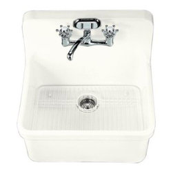 "KOHLER - KOHLER K-12701-0 Gilford Apron-Front, Wall-Mount Kitchen Sink, 24"" x 22"" - KOHLER K-12701-0 Gilford Apron-Front, Wall-Mount Kitchen Sink, 24"" x 22"" in White"