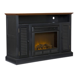 """Holly & Martin - Savannah Media Fireplace, Black and Walnut - Classic cottage styling, a weathered oak finish and multipurpose functionality make this exquisite fireplace media stand a no brainer. Louvered cabinet doors on each side of the firebox house an adjustable shelf for plenty of media storage. A large open shelf boasts space for receivers and game consoles complete with two openings for cord management. Combine with up to a 48"""" flat screen TV and any room in your home will become the best room in the house! Portability and ease of assembly are just two of the reasons why our fireplace mantels are perfect for your home. Requiring no electrician or contractor for installation allows instant remodeling without the usual mess or expense. Use this great functional fireplace to make your home a more welcoming environment."""