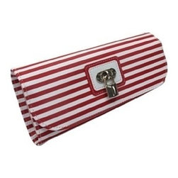 Morelle - Lucy Striped Jewelry Roll, Red. - This classy striped jewelry envelope enclosed with lovely lock and key is areal eye catcher. Perfect for the frequent traveler, it features a zippered compartment for trinkets and accessories, a special earring holder and two ring holders.