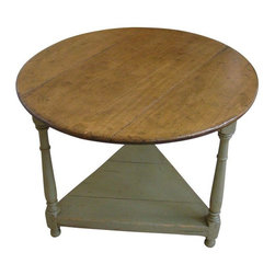 """Pre-owned English Cricket Table in Sage Green - Beautiful English Cricket table made of French Pine.  Measures 28"""" diameter round top with a sage green base with a triangular shelf. Great table for the front hall, next to the sofa or use it as a bedside table. Approximately 28"""" tall, the table is versatile in many styles of decor."""