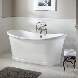 """67"""" Dorset Bateau Cast Iron Skirted Tub - The Dorset Cast Iron Tub is elegance personified. Smooth porcelain enamel and a classic bateau shape deliver a touch of drama to your master bath."""