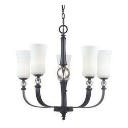 Z-Lite - Z-Lite 604-5 Harmony 5 Light 1 Tier Chandelier - With contrasting white shades and crystal spheres, this five light chandelier is a unique mix of contemporary and traditional styling. Finished in matte black, this fixture creates an elegant yet bold statement.Features: