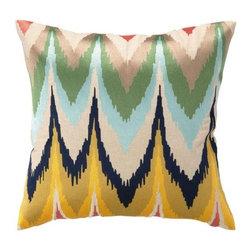 "Peking Handicraft Inc. - D.L. Rhein Frequency Embroidered Pillow 20X20"""" DF"" - 95% RAMIE 5% COTTON"