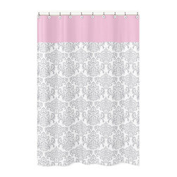 Sweet Jojo Designs - Sweet Jojo Designs Elizabeth Damask Cotton Shower Curtain - Elevate the look of your bathroom with this cotton shower curtain. With its attractive gray and white damask pattern,this Sweet JoJo Designs shower curtain will add the finishing touch your decor. A pink header completes this curtain.