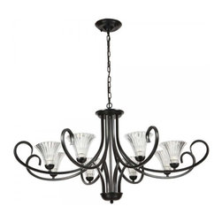 ParrotUncle - Antique 8 Lights Black Iron Chandelier with Glass Shades - Traditionally styled with a classic candelabrum design, this magnificent 8-light chandelier is a stylish lighting piece that could enhance the visual aesthetic of almost any interior space. It features a fine polished black iron frame with slender curving arms supporting 8 attractive glass shades shaped like flowers. The unique design gives this chandelier a rich elegance, making it matches with various styles.