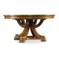 """Hooker Furniture - Tynecastle Round Pedestal Dining Table with One 18"""" Leaf - White glove, in-home delivery included!  Named for the Tynecastle area of Northern England, the Tynecastle collection is inspired by the manor homes and equestrian life of the English countryside.  Tynecastle combines classic Georgian architechural details with more rustic timber-frame elements and leather accents, creating a """"manor home to tack room"""" Hunt Country flavor.  One 18"""" leaf extends table to 78"""".  Will seat up to six guests with leaf in place."""