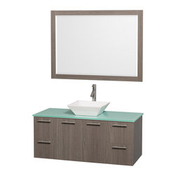 Wyndham - Amare 48in. Wall Vanity Set in Grey Oak w/ Green Glass Top & White Porcelain S - Modern clean lines and a truly elegant design aesthetic meet affordability in the Wyndham Collection Amare Vanity. Available with green glass or pure white man-made stone counters, and featuring soft close door hinges and drawer glides, you'll never hear a noisy door again! Meticulously finished with brushed Chrome hardware, the attention to detail on this elegant contemporary vanity is unrivalled.