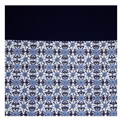 Grey House Linens - The Shira Collection Tablecloth, Medium - Indigos are in, and this hand block print border of indigo, chambray and white has a handcrafted aesthetic. Set against an organic navy field, it's a classic look that can be dressed up or down for any occasion.