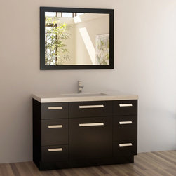 """Design Elements - Moscony 48"""" Single Sink Vanity Set - 48"""" Single Sink Vanity Set; Solid wood cabinet; Man-made stone top with drop-in sink; 4 functional pull out drawers with one large single-door cabinet; White man-made stone integrated with drop-in sink; Faucet not included; Matching pop up drain; Matching framed mirror; 3 soft closing single-door cabinets; Weight: 280 lbs.; Dimensions: Vanity - 48""""W x 22""""D x 34""""H; Mirror - 40""""W x 30""""H"""