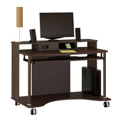 Bush - Bush Mobiletech Mobile Computer Cart in Mocha Cherry - Bush - Computer Carts - HM5581603 - Practical yet portable. Work on the go without sacrificing features. Fresh, new design of the Bush Furniture Mobiletech Mocha Cherry Mobile Computer Cart makes a great fit now in tighter home work areas or small offices. Stay connected without messy wires via the integrated, 4-port USB hub. Hidden cable port and storage keeps unsightly cords invisible and minimizes wire tangle. Bottom shelf offers additional room for copy paper, binders, full-size CPUs or other electronics/peripherals. Solid, long-lasting laminate work surface stands up to years of use. Edge banding resists damage, dents and dings. Four rolling casters, two with lockdowns, let you securely place the cart wherever needed. Convenient pullout keyboard tray is right at your fingertips. Includes Bush Furniture 1-year warranty.