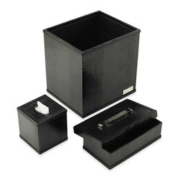 Paolo Guzzetta Firenze LLC - Accessory Set Collection, Mini Crocodile Black - The collection is hand made in Italy. It is fabricated in the highest quality of full grain calf leather, and is classically ornamented with palladium.  It's not only for your office but can work in a powder room.  The waste baskets can hold magazines and the letter holder is designed to hold guest towels as well. It comes in 5 leathers and 14 colors.  Leathers are treated to resist damage from normal wear, however exposure to liquids will cause harm to these products.  In this event, a professional leather artisan is needed to restore them to its natural beauty.  For normal maintenance use a soft cloth like chamois to polish  both the leather and metal elements.  Never use abrasive cleaners. High quality leather conditioner may be used according to their directions.  The set includes 3 pc: Waste Basket, envelope box & tissue holder.  Please note the dimension and weight is stated per set.