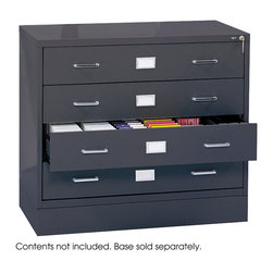 """Safco - Media Cabinet Base - Charcoal - Make more space for multi-media. This The optional base raises files 5"""" off the floor.; Features: Material: Steel; Color: Charcoal; Finished Product Weight: 16 lbs.; Assembly Required: Yes; Tools Required: Yes; Limited Lifetime Warranty; Dimensions: 37""""W x 17 1/2""""D x 5 1/4""""H"""