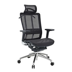 Modway - Future Office Chair in Black - Welcome to the Future chair, a fully-featured ergonomic chair at a price you can afford. Future comes complete with a durable mesh seat and back to keep you cool, a waterfall seat to ease pressure on your thighs, and an adjustable lumbar support to alleviate lower back pain. The armrests adjust both in height and depth to help position your elbows properly while typing. The headrest is fully adjustable and theres also a tension knob to adjust the chair tilt. Future even comes with a hanger to hold your jacket! This is a chair made to take you well into the future.