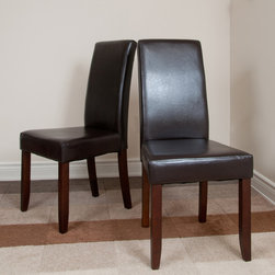 WyndenHall - 'Normandy' Brown Leatherette Parson Chairs (Set of 2) - This leather Parson chair set provides an elegant highlight to any dining room. These stylish chairs feature solid wood construction, web seat suspension. and an eye-catching design that works nicely with a wide range of decorative themes.