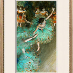 Artcom - Green Dancer, circa 1880 by Edgar Degas Artwork - Green Dancer, circa 1880 by Edgar Degas is a Framed Giclee Print set with a TATIANA Champagne wood frame and Soft White and Soft White matting.