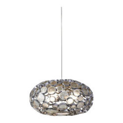 ecofirstart - Recycled Fascination Chandelier - Is your room a little flat these days? Add some effervescence with this bubbly, bauble-y pendant light. It features a shade made of recycled glass and hand forged steel that's sure to add sparkle and shine to your favorite space.