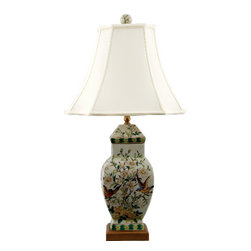 Oriental Danny - Porcelain lamp - Hand painted porcelain lamp in Whisper Springs pattern. Beautiful bird in soft sage crackle. Top with silk lamp shade. Wattage: 100 watt, 3-way switch, UL Listed.