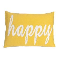 "IMAX - Suzie Happy Pillow - Modern homes require bold accents like this happy pillow in a yellow hue. The soft, white embroidery adds a whimsical touch! Item Dimensions: (14""H x 20"")"