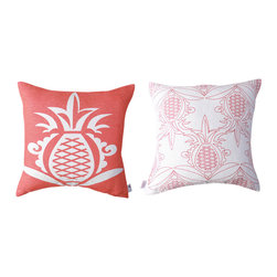 Kaypee Soh - Pineapple Pillow - Honeysuckle - The quintessential fruit of the islands the Pineapple, both in real life and in print, is fresh, happy and adds a dash of fun to any room.
