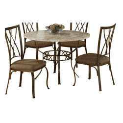 Hillsdale Furniture - Hillsdale Brookside Diamond Fossil Back Dining Side Chair (Set of 2) - Our Brookside dining collection features the lustrous depth and beauty of fossil stone and the classic effect of transitional designs. A thick patterned ivory colored fossil stone veneer graces the sturdy powdered coated metal bases on the dining table, bistro table and buffet. The chairs and stools are available in two styles, a more traditionally scrolled design which boasts an oval fossil stone motif and a more gracefully scrolled metal work, or a more transitional diamond fossil stone motif with a more angular, contemporary design. Both styles have a micro suede seat fabric for easy care and long lasting beauty.