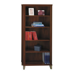 Bush Furniture - Bush Furniture 5 Shelf Bookcase X-56718CW - The Somerset wall-size bookcase offers ample storage. Accommodates oversized books, manuals, photos and more. Combined with transitional styling, it works within all types of offices due to its small footprint. Add other pieces from the Bush Furniture Somerset Collection to round out any room in the home or commercial office. Bookcase features three moveable and two fixed shelves for added stability and is backed by Bush Furniture's 6 year warranty.