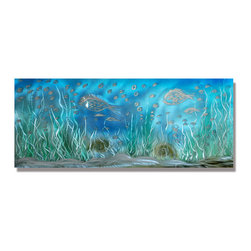 """Pure Art - Fancy Fish School Handcrafted Metal Wall Art Sculpture - There's something just a bit fishy about this abstract metal wall art hanging! The Fancy Fish School Handcrafted Metal Wall Art Sculpture features the subtle forms of fish moving about in an underwater haven!  The beautiful Caribbean colors of this highly stylized piece will add a cool, calming and welcoming feel to any space where you choose to display it.  This handcrafted metal wall art is also handpainted. Crafted from the best aluminum for long lasting good looks.  Panoramic horizontal style wall art is great for making a big """"splash"""" visually on any wallMade with top grade aluminum material and handcrafted with the use of special colors, it is a very appealing piece that sticks out with its genuine glow. Easy to hang and clean."""
