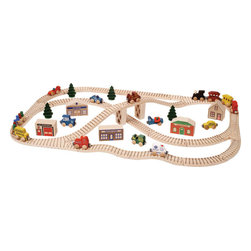 "Maple Landmark - Maple Landmark Wood Town Toy Train Set - Beep beep! Toot toot! Chug-a-chug-a-chugga! There's no end to the busy in our Town Train Set. Our large 56-piece set lays out to 24"" by 38"". Individual cars measure about 3"" long by 2"" high each and have a non-toxic finish. Straight track is grooved on one side. Curved track, switches, puddlejumpers, and bridge approaches are grooved on both sides. Buildings are about 1-5/8"" thick, vary in height and width, and are printed one side only. All track is sanded smooth with laser-engraved stripes, and is unfinished. Vehicle, building, and track pieces are crafted from locally sourced, sustainably harvested hard maple and are compatible with our, Brio®, Thomas the Tank and other wooden train systems."