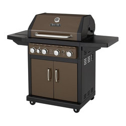 Dyna-Glo - Dyna-Glo DGA480BSP 4-Burner Gas BBQ Grill Burnished Bronze with Side Burner - DG - Shop for Grills from Hayneedle.com! Ensure your summer has an endless supply of ribs burgers and hot dogs with the Dyna-Glo DGA480BSP 4-Burner Gas BBQ Grill Burnished Bronze with Side Burner. Four stainless-steel tube burners (with a simple electric pulse starter) provide 12 000 BTUs of heat apiece each featuring a steel-enameled heat tent to distribute the heat evenly. Each of the grates are made from heavy-duty cast iron and feature a porcelain enamel for easy cleaning. The main cooking surface provides 480 square-inches of cooking area enough for up to 24 burger patties at one time. The raised secondary cooking area lets you cook more meat or vegetables. The side-burner provides an additional 12 000 BTUs making it easy to boil a pot of baked beans or saute a pan of vegetables while your grill. A double-door cabinet provides a seat for a propane tank and storage of an additional tank. The unit is supported by a sturdy steel frame with a burnished bronze finish. The lid is double-lined to retain heat and features a built-in thermometer for at-a-glance temperature adjustments.