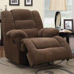 Coaster - Glider Recliner, Saddle - Easily match your home decor with this glider recliner in a saddle colored textured padded velvet.