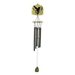 Great World - 32 Inch Green Etched Poly Resin Stone Eagle Silhouette Wind Chime - This gorgeous 32 Inch Green Etched Poly Resin Stone Eagle Silhouette Wind Chime has the finest details and highest quality you will find anywhere! 32 Inch Green Etched Poly Resin Stone Eagle Silhouette Wind Chime is truly remarkable.