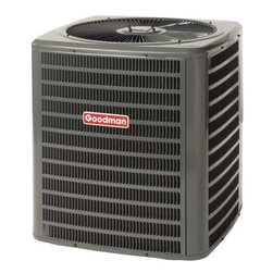 GOODMAN - GOODMAN 13 SEER R410A AIR CONDITIONER 3.0 TON - The Goodman brand GSX13 Air Conditioner uses the chlorine-free refrigerant R-410A and features operating sound levels that are among the lowest in the heating and cooling industry. With its 13 SEER rating, the GSX13 will help reduce energy consumption throughout the life of the system. | Product Features: | R-410A chlorine-free refrigerant  | Energy-efficiency scroll compressor  | Factory-installed liquid line filter dryer  | Copper tube/aluminum fin coil  | Brass liquid & suction line valves  | Contactor with lug connection  | Ground lug connection  | Copper tube/enhanced aluminum fin coil | AHRI certified; ETL listed  | Cabinet Features: | Goodman brand louvered sound control top design | Steel louver coil guard | Heavy-gauge galvanized-steel cabinet | Attractive Architectural Gray powder-paint finish with 500-hour salt-spray approval | Top and side maintenance access