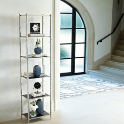 Global Views - Global Views Arbor Etagere - The Global Views Arbor e��_tage��_re reflects natural style with a captivating twig-inspired frame. Six black granite shelves offer the simple, nickel unit contemporary texture. Stationary shelves