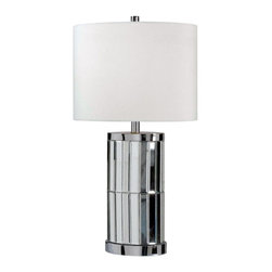 Kenroy Home - Kenroy 32097CHM Lustre Table Lamp - Flashy yet pulled together, the brilliant refracted light from Lustre's Mirrored Chrome base is anchored by the crisp White shade atop. This look adds sparkle without overwhelming a room.