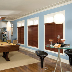 """BlindSaver Allure 2-1/2"""" WoodTones Wood Alloy Blinds - BlindSaver's 2-1/2"""" Shutter style slats provide classic styling to your home. Available with traditional plantation-style slats and beveled slats, the 2-1/2"""" slats provide a more clear, open view while providing the look of shutters without the hassle. Made to our exacting standards, these composite blinds bring together the beauty of wood and the durability of faux wood for a look sure to please."""